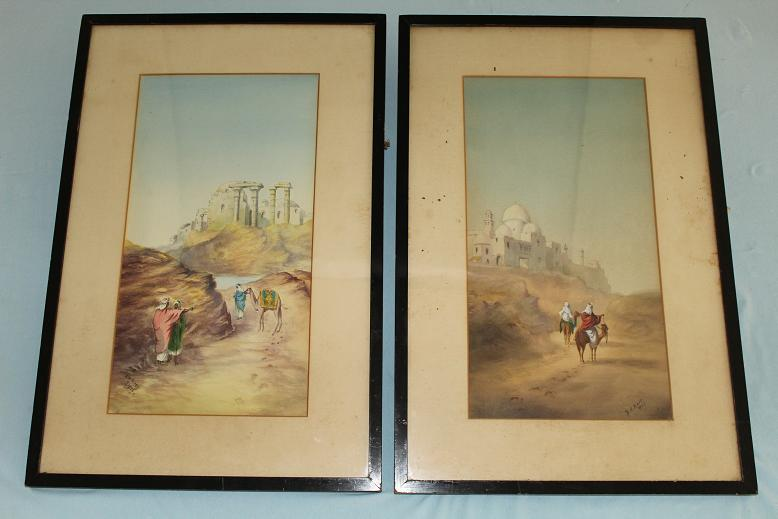 Original water colours Middle Eastern Scenes An untouched pair K M Blake 1926 www.swordsantiqueweapons.com