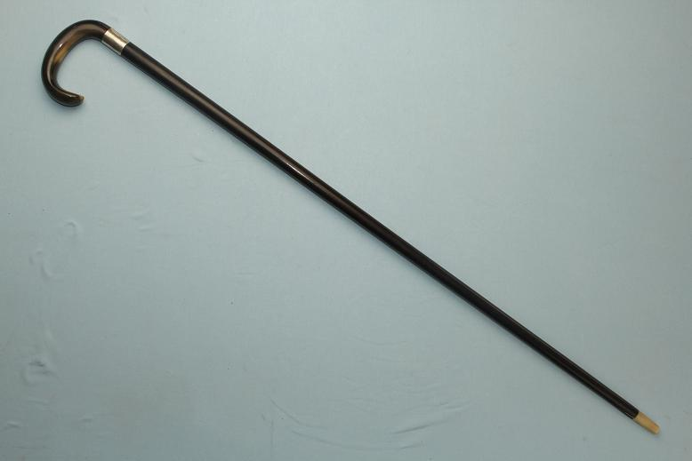 A very rare Gadget cane Hidden cork screw HMSS collar horn ferrule www.swordsantiqueweapons.com