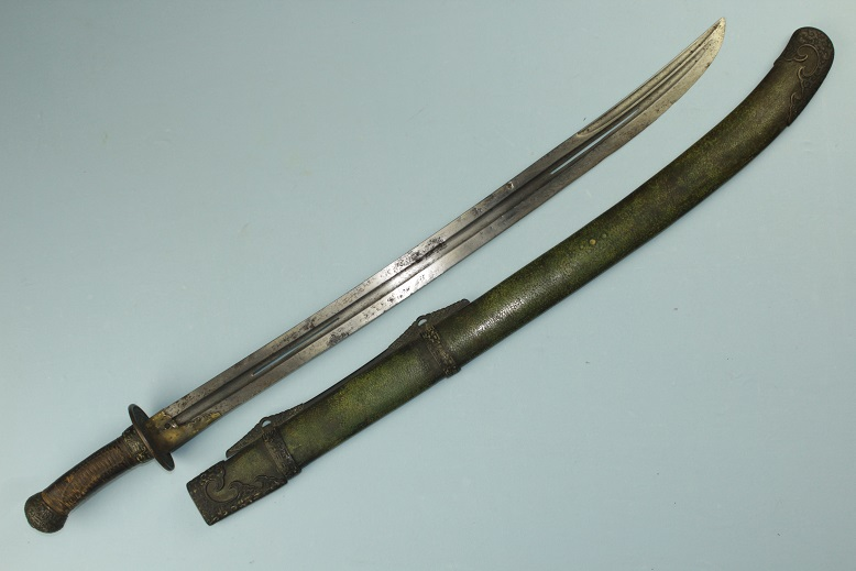 Very Rare sword Ex Personal collection Chinese sabre or Dao Very ealry 19th century Very rare blade type Asymmetrical fullers<br>Pierced blade Highend fittings Original old condition www.swordsantiqueweapons.com