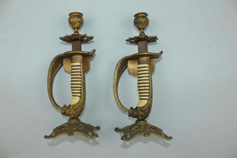 Naval sword degen sabel schwert candle sticks Early 20th century Faux ivory grips Folding guards www.swordsantiqueweapons.com