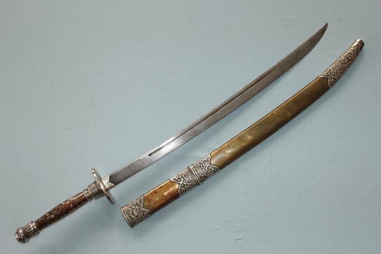 Vietnam A very rare sword type Samrit alloys Inlayed metals Very fine repousse Signed blade www.swordsantiqueweapons.com