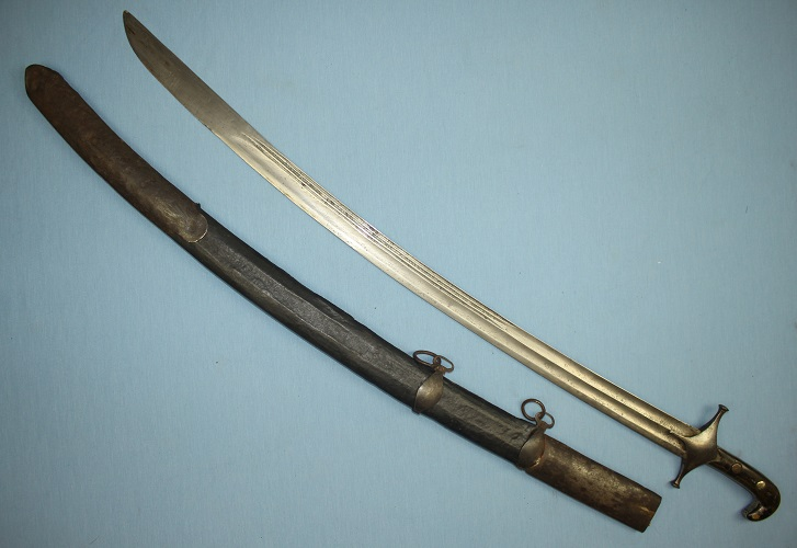 Syrian sword sabre Persian Shamshir 18th century European blade Fine pattern welded blade Good forte markings www.swordsantiqueweapons.com